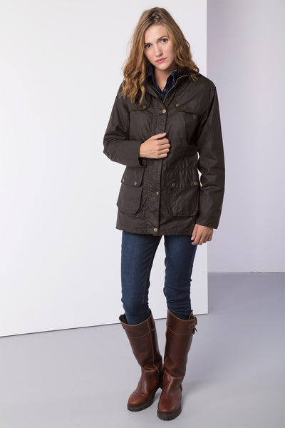 Olive - Rydale Ladies Waxed Cotton Jacket with Elasticated Back