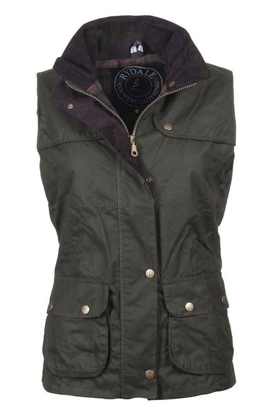Olive - Ladies 100% Waxed Cotton Waistcoat with an Elasticated Back