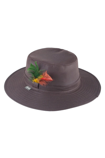 Brown - Waxed Cotton Feathered Wide Brim Hats