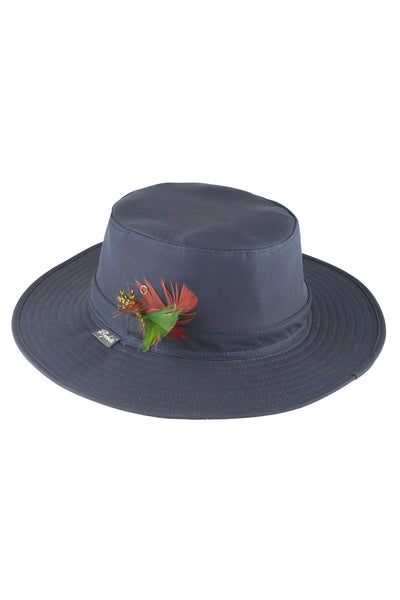 Navy - Waxed Cotton Feathered Wide Brim Hats