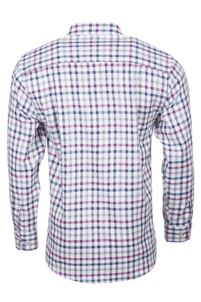 Otley Wine - Mens Long Sleeved Country Check Shirts