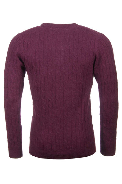 Wine - Rydale Cable Knit Lambswool Sweater