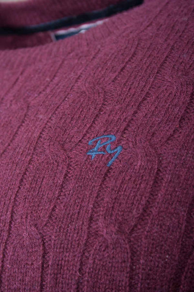 Wine - Rydale Mens Cable Knit Sweater