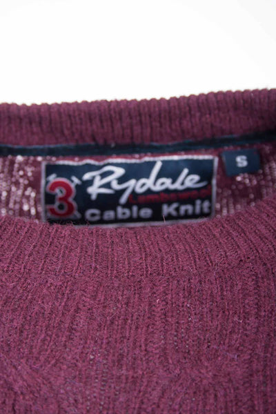 Wine - Rydale UK Crew Neck Cable Knit Sweater