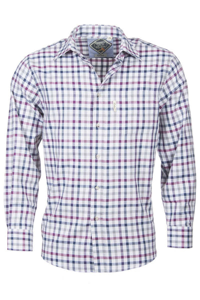 Otley Wine - Mens Colourfull Gingham Style Check Shirt