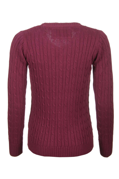 Wine - V Neck Cable Knit Sweater