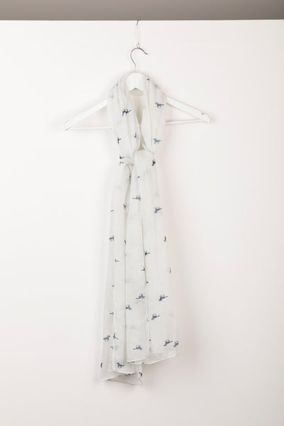 Horse White II - Ladies Wistow Printed Floaty Scarf