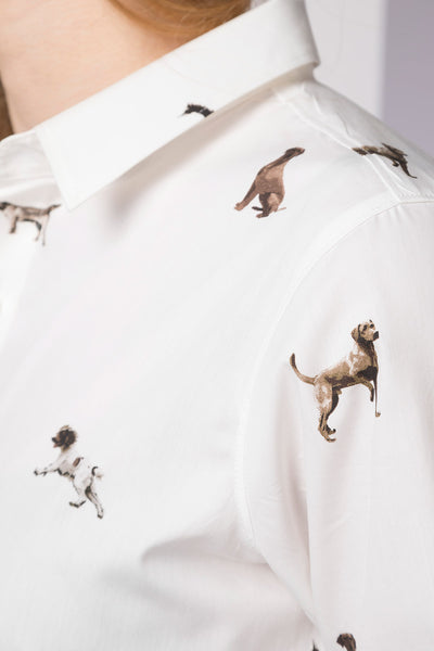 Country Dog White - Ladies Wistow Printed Shirt