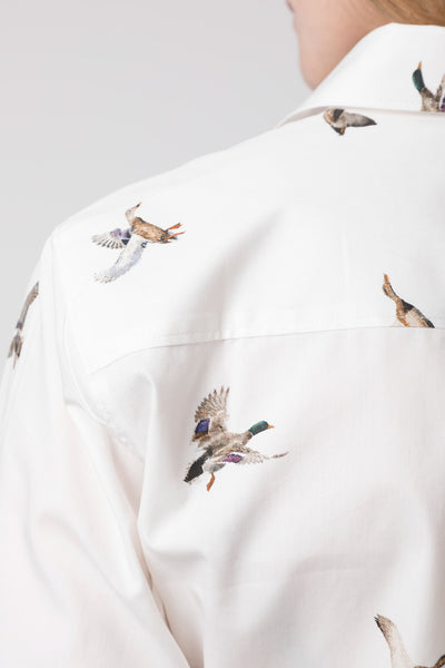 Flying Ducks White - Ladies Wistow Printed Shirt