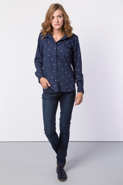Horse Shoe Navy - Wistow Printed Shirt