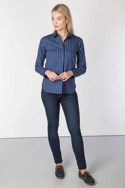 Snaffle Navy - Ladies Wistow Printed Shirt