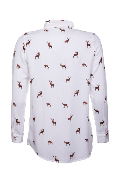 Deer - Ladies Tie Neck Blouse