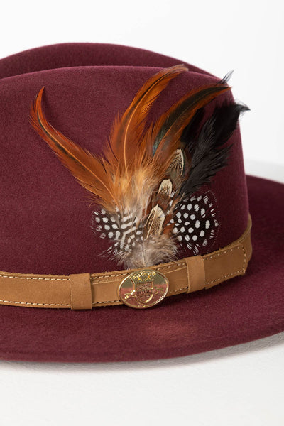 Burgundy - Ladies Danby Wool Felt Hat