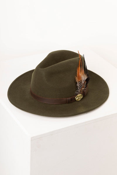 Dark Olive - Ladies Danby Wool Felt Hat
