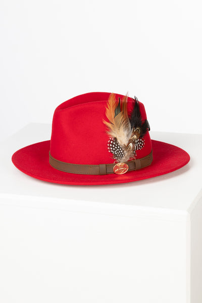 Red - Ladies Danby Wool Felt Hat