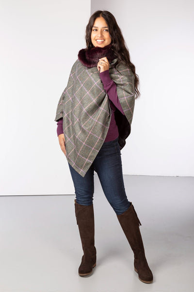 Burgundy - Wool Tweed Poncho With Faux Fur