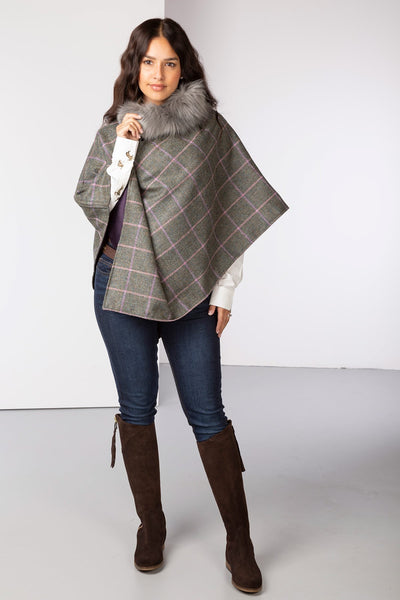 Silver - Wool Tweed Poncho With Faux Fur