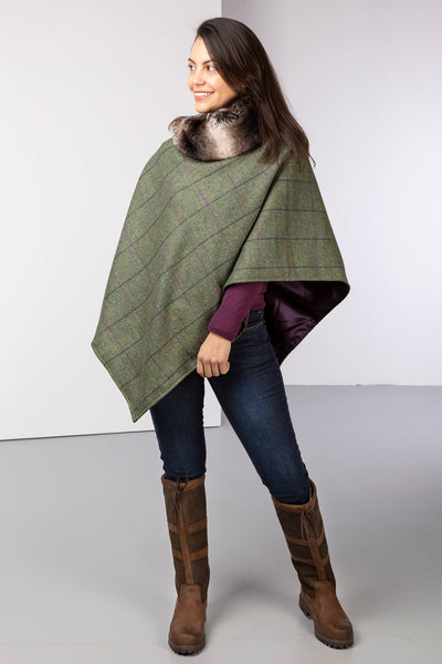 Green - Wool Tweed Poncho With Faux Fur