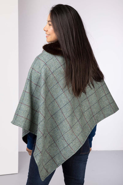 Grey - Wool Tweed Poncho With Faux Fur