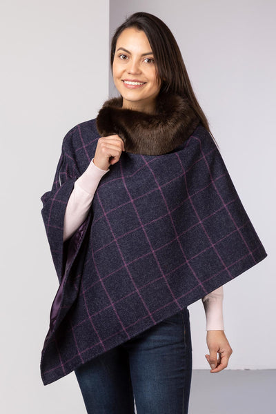 Navy - Wool Tweed Poncho With Faux Fur