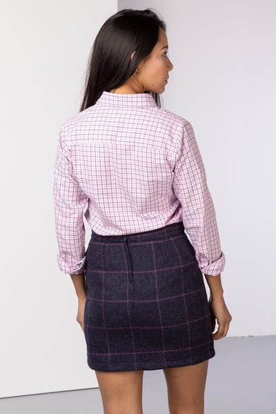 Navy - Wool Tweed Skirt