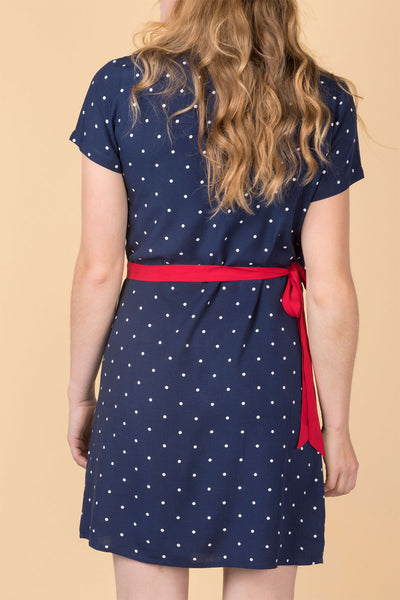 Spotty Navy - Ladies Rose Wrap Dress
