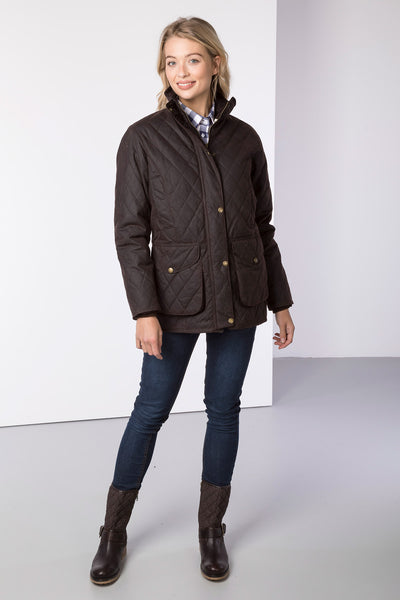Brown - Wrelton Diamond Quilted Wax Jacket