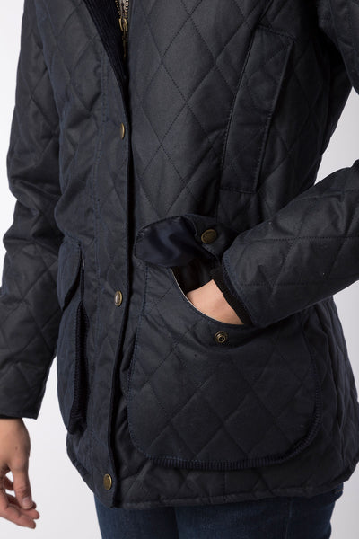 Navy - Wrelton Diamond Quilted Wax Jacket