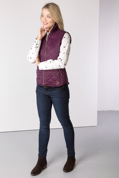 Berry - Ladies Wrelton Quilted Gilet