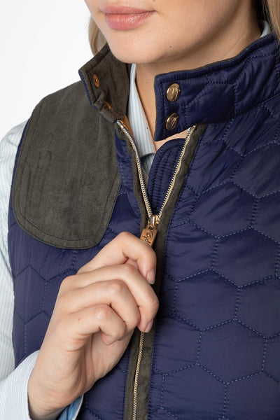 Navy - Ladies Quilted Gilet - Wrelton II