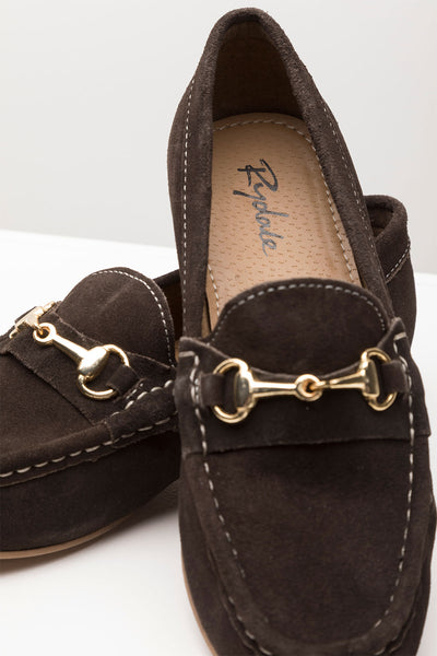 Brown - Ladies Wrelton Snaffle Suede Loafer Shoes