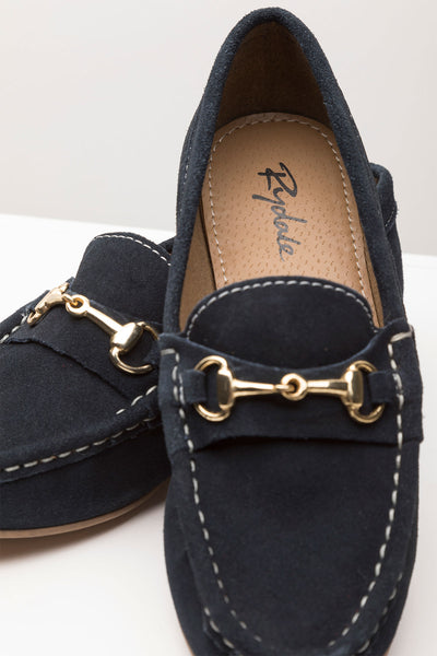Navy - Ladies Wrelton Snaffle Suede Loafer Shoes