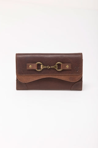 Zara Snaffle Brown Leather Long Purse