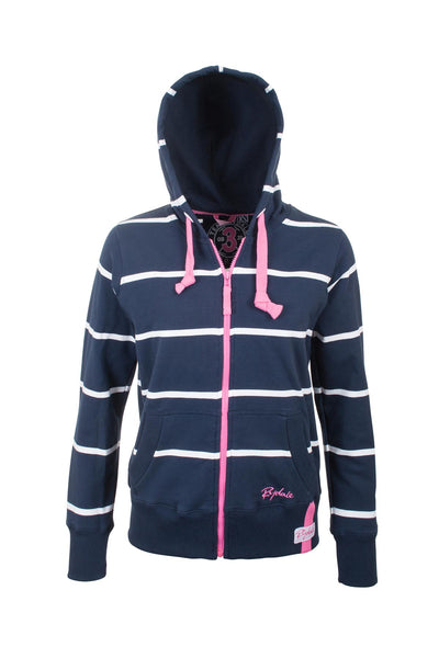 Navy / White - Hooded Full Zip Jumper