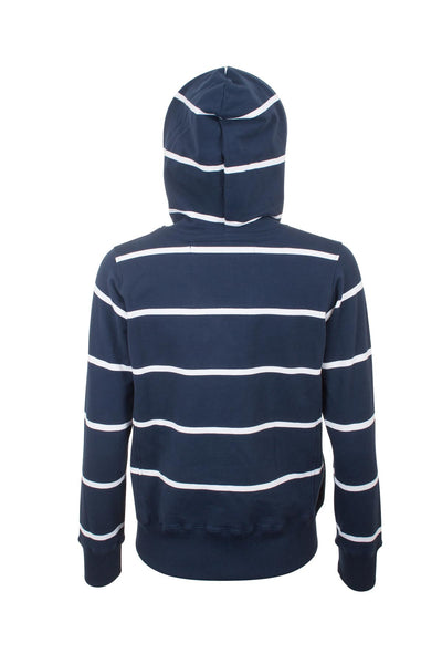 Navy / White - Zipped Hooded Sweatshirt