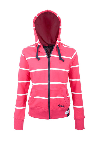 Ruby / White - Hooded Full Zip Jumper