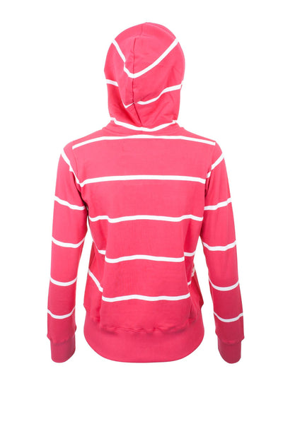 Ruby / White - Zipped Hooded Sweatshirt