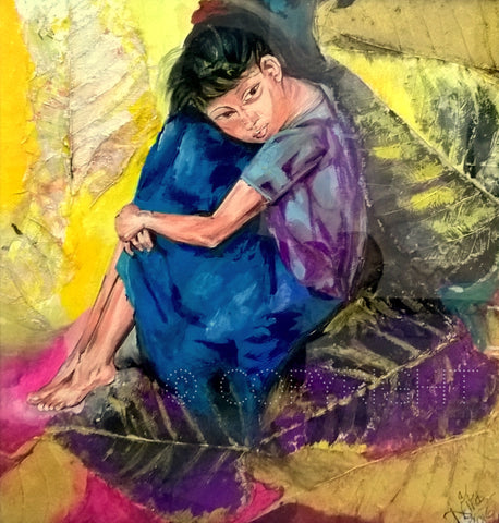 Cuddling Her Sorrow- Artwork using Watercolors on Leaves l Artiliving Online Art & Home Decor
