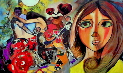 Love vs Lust?- Artwork using Watercolors l Artiliving Online Art & Home Decor