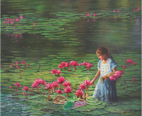 Girl with lilies painting l Artiliving Online Art & Home Decor