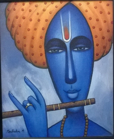 Krishna with his flute painting l Artiliving Online Art & Home Decor