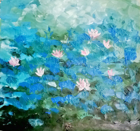 Pink Lilies in blue water painting l Artiliving Online Art & Home Decor