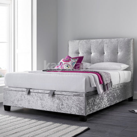 Walkworth Ottoman Bed - King - Slate, Oatmeal or Silver Crushed Velvet