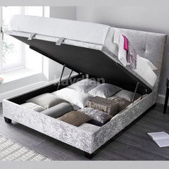 Walkworth Ottoman Bed - Double - Slate, Oatmeal or Silver Crushed Velvet