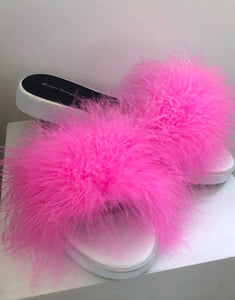 MILLIE SLIDERS - White & Hot pink