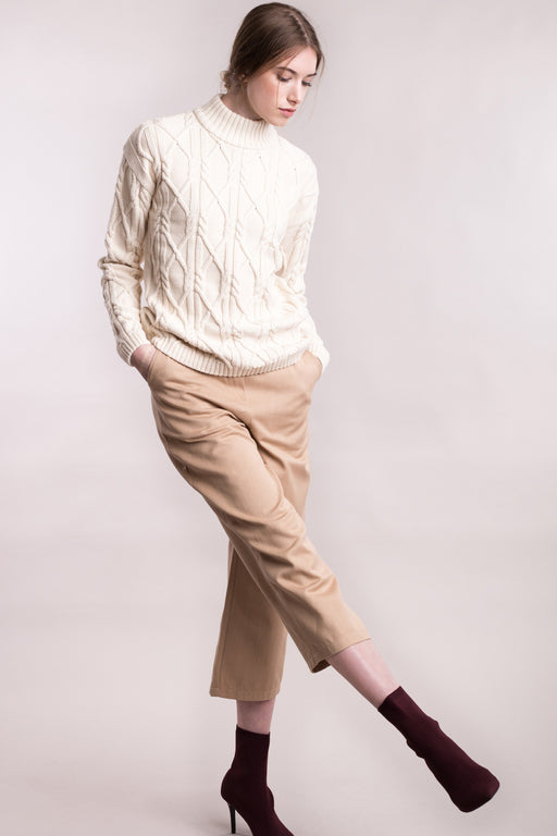 ARAN High Neck Pullover cream