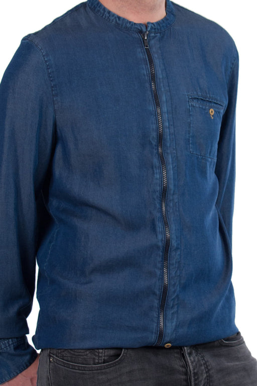 ROBIN  LS Zip-Shirt tencel blue