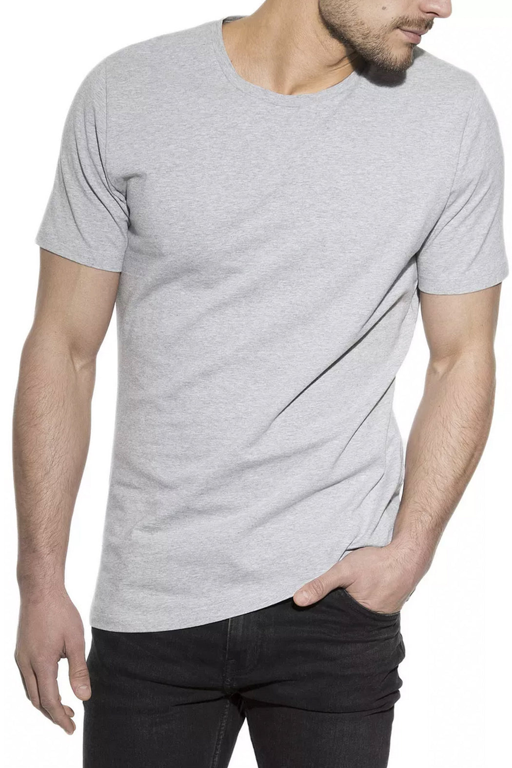 MAN CREW-NECK T-Shirt grey mel.