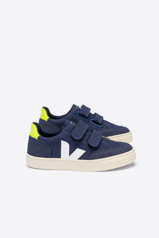 Kid Junior V12 VELCRO Canvas marine jaune fluo