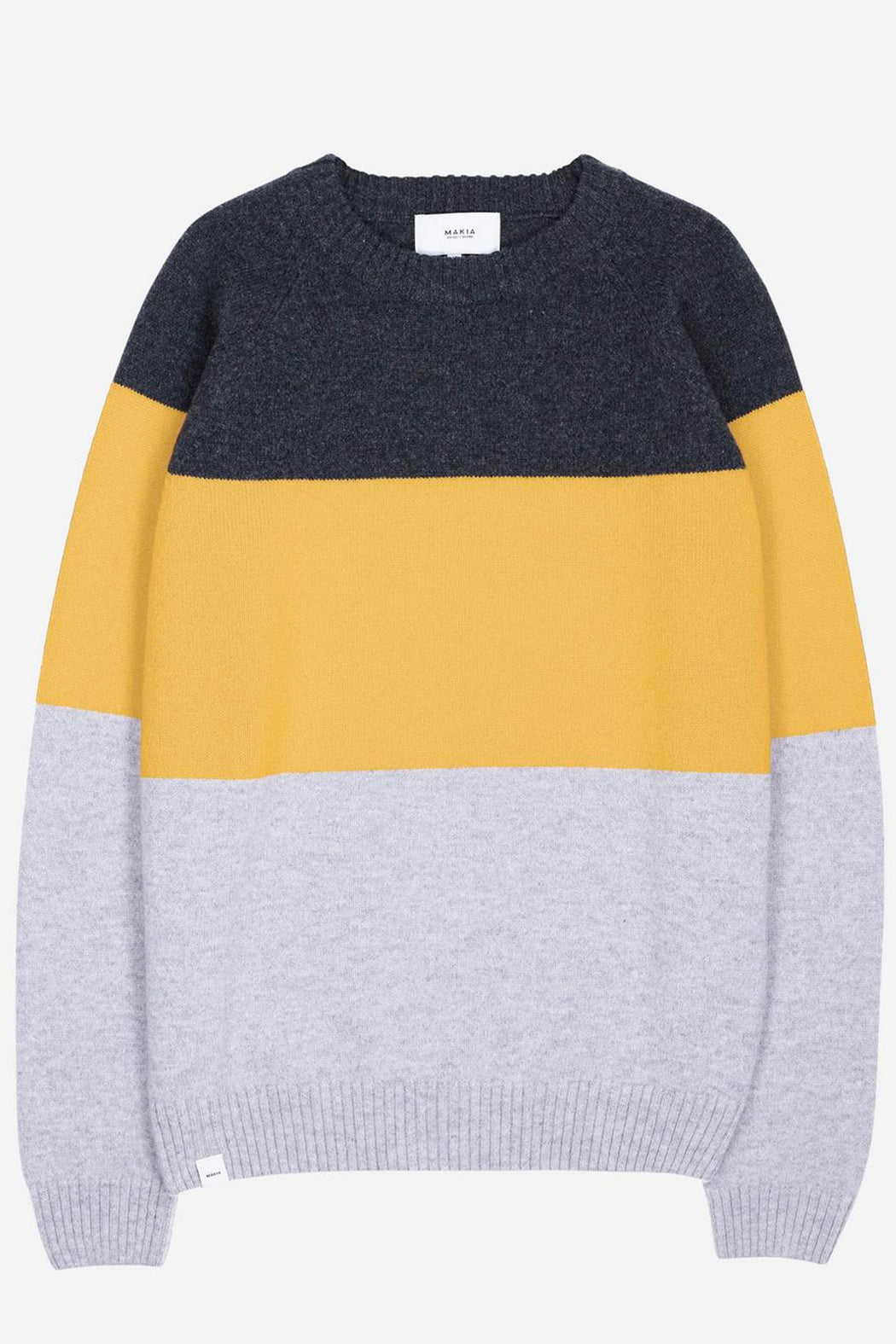 BLOCK KNIT Pullover grey yellow